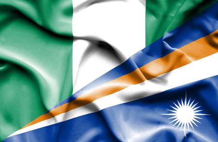 marshall: Waving flag of Marshall Islands and Nigeria Stock Photo