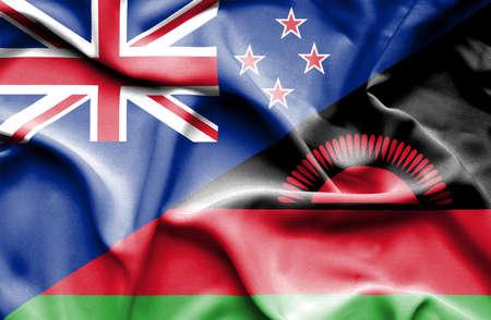 malawian flag: Waving flag of Malawi and New Zealand