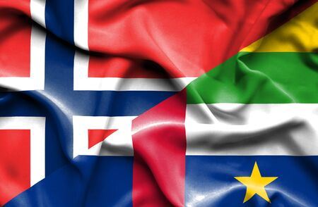 norway flag: Waving flag of Central African Republic and Norway Stock Photo