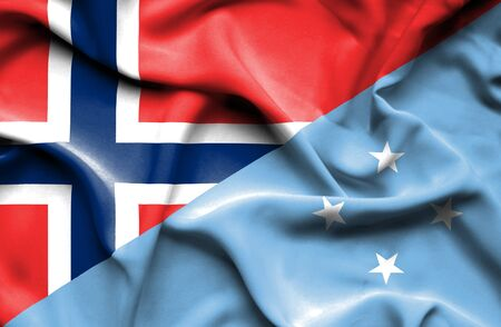 micronesia: Waving flag of Micronesia and Norway