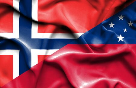 samoa: Waving flag of Samoa and Norway Stock Photo