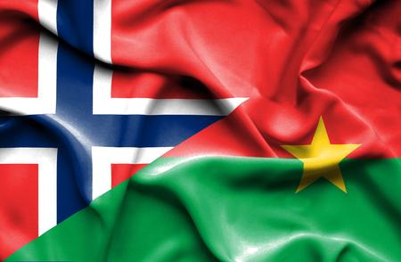 burkina faso: Waving flag of Burkina Faso and Norway