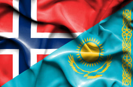 norway flag: Waving flag of Kazakhstan and Norway
