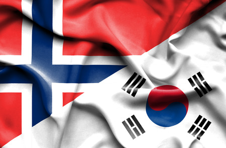 norway flag: Waving flag of South Korea and Norway