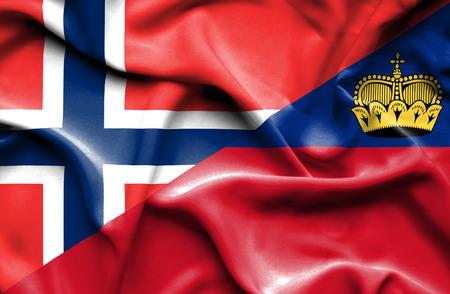 norway flag: Waving flag of Lichtenstein and Norway