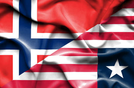 liberia: Waving flag of Liberia and Norway Stock Photo