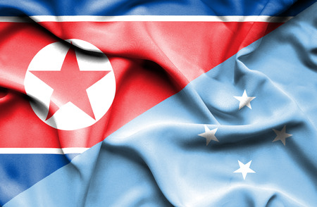 north korea: Waving flag of Micronesia and North Korea
