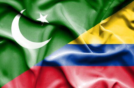 columbia: Waving flag of Columbia and Pakistan