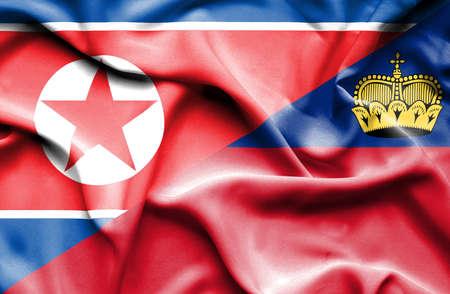 lichtenstein: Waving flag of Lichtenstein and North Korea