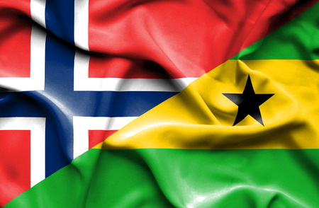 tome: Waving flag of Sao Tome and Principe and Norway