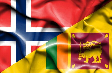 sri lankan flag: Waving flag of Sri Lanka and Norway