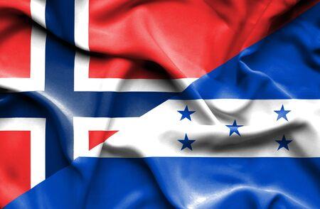 norway flag: Waving flag of Honduras and Norway