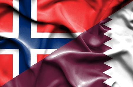 norway flag: Waving flag of Qatar and Norway