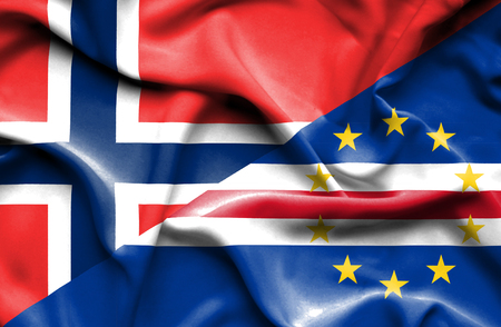 cape verde: Waving flag of Cape Verde and Norway