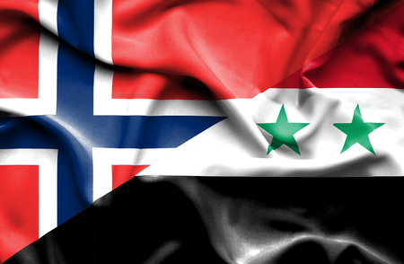 norway flag: Waving flag of Syria and Norway