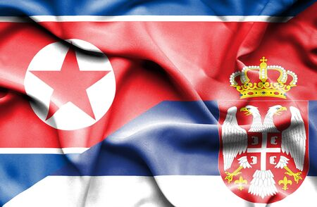 north korea: Waving flag of Serbia and North Korea