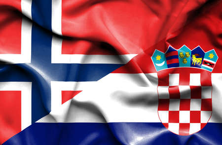 norway flag: Waving flag of Croatia and Norway