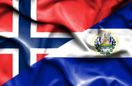 el salvador: Waving flag of El Salvador and Norway