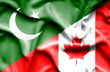 flag of pakistan: Waving flag of Canada and Pakistan
