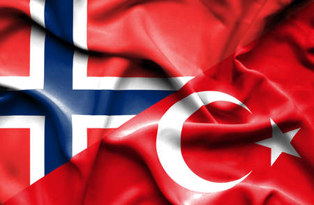 norway flag: Waving flag of Turkey and Norway