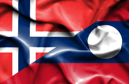 norway flag: Waving flag of Laos and Norway Stock Photo