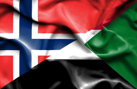 norway flag: Waving flag of Sudan and Norway