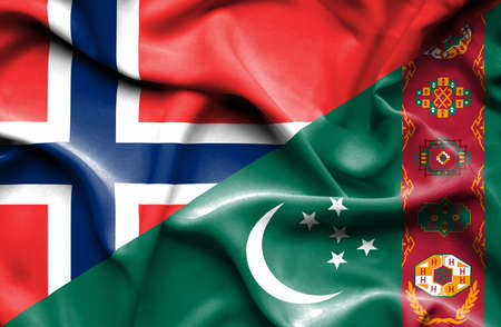 norway flag: Waving flag of Turkmenistan and Norway