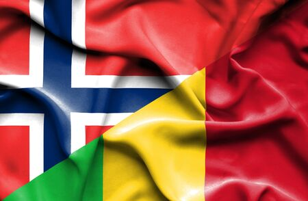 norway flag: Waving flag of Mali and Norway