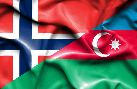 norway flag: Waving flag of Azerbajan and Norway