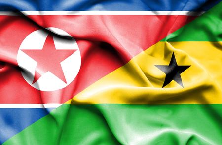 principe: Ondeando la bandera de Santo Tomé y Príncipe y Corea del Norte Foto de archivo