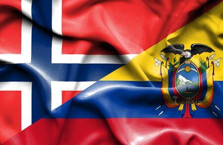 norway flag: Waving flag of Ecuador and Norway Stock Photo