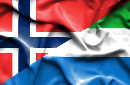 sierra leone: Waving flag of Sierra Leone and Norway Stock Photo