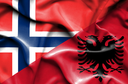norway flag: Waving flag of Albania and Norway