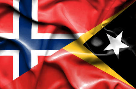 norway flag: Waving flag of East Timor and Norway