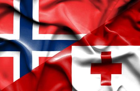 norway flag: Waving flag of Tonga and Norway