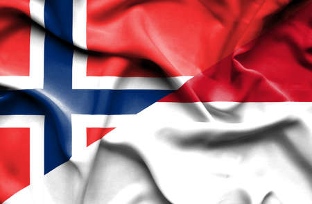 norway flag: Waving flag of Indonesia and Norway Stock Photo