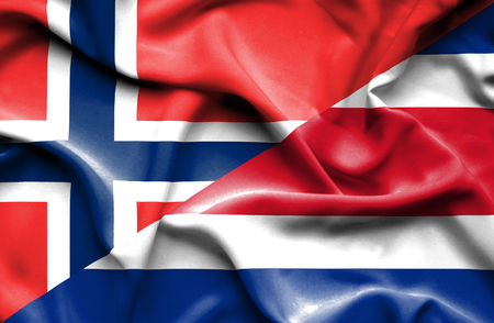norway flag: Waving flag of Costa Rica and Norway Stock Photo
