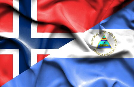 norway flag: Waving flag of Nicaragua and Norway