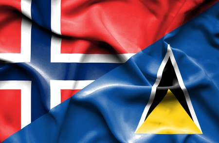 st lucia: Waving flag of St Lucia and Norway
