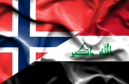norway flag: Waving flag of Iraq and Norway