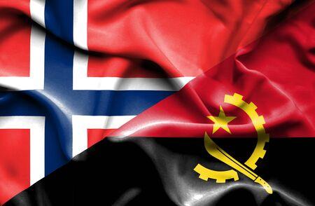 angola: Waving flag of Angola and Norway