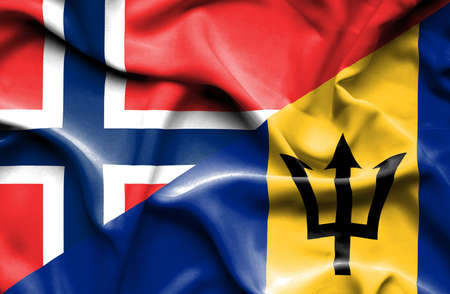 norway flag: Waving flag of Barbados and Norway Stock Photo