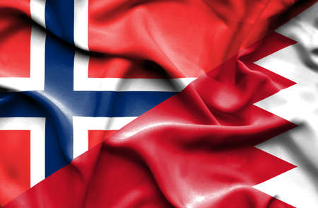 norway flag: Waving flag of Bahrain and Norway