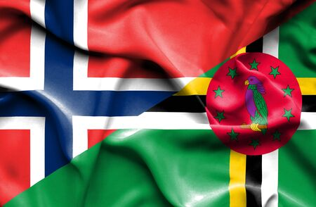 norway flag: Waving flag of Dominica and Norway Stock Photo