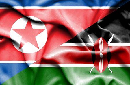 kenya: Waving flag of Kenya and North Korea Stock Photo
