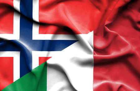 norway flag: Waving flag of Italy and Norway