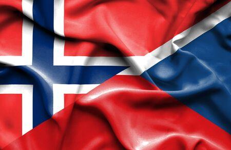 the czech republic: Waving flag of Czech Republic and Norway Stock Photo