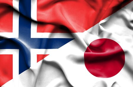 norwegian flag: Waving flag of Japan and Norway Stock Photo