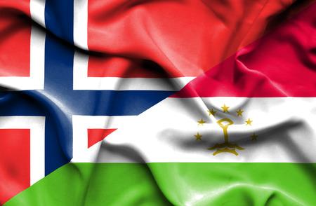 norway flag: Waving flag of Tajikistan and Norway