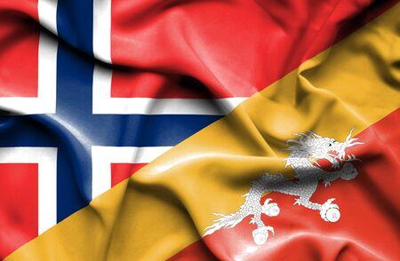norway flag: Waving flag of Bhutan and Norway